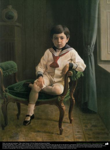 Niño con traje de marinero,- Óleo sobre lienzo, (1914); Pintura de Kamal ol-Molk