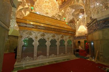 Islamic Calligraphy on the new metal cover (Zarih) of Imam Husein's tomb (P), in Karbala, Irak  - march the 6th 2013