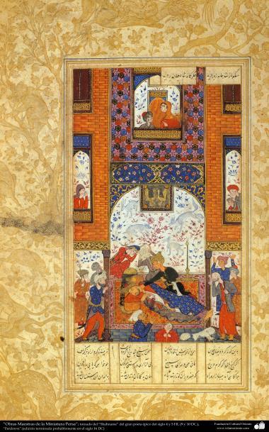 """اسلامی فن - ایران کے پرانے مشہور شاعر فردوسی کی کتاب """"شاہنامہ"""" سے ایک مینیاتور پینٹنگ (تصویرچہ) - ۲"""