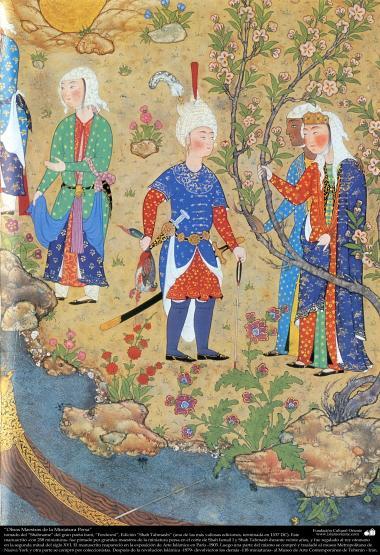 Art islamique, chef d'oeuvre de miniature persane, tirée de Shahnameh, l'oeuvre du grand poète iranien Ferdowsi, Ed. Shah Tahmasbi  - 242
