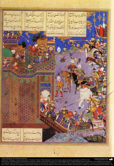 Meisterstücke der persischen Miniatur, entnommen von Shahname vom größten, iranischen Peoten Ferdowsi - Shah Tahmasbi Edition - 21 - Islamische Kunst