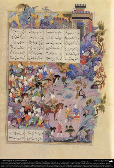 Meisterstücke der persischen Miniatur, entnommen von Shahname vom größten, iranischen Peoten Ferdowsi - Shah Tahmasbi Edition - 27 - Islamische Kunst