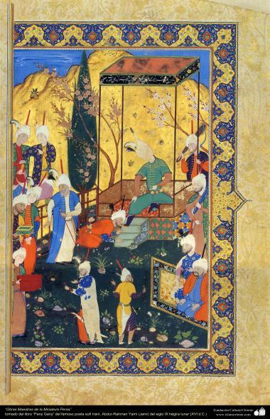 """اسلامی فن - بارہویں صدی کے ایرانی مشہور شاعر نظامی گنجوی کی کتاب """"خمسہ"""" سے ایک مینیاتور پینٹنگ (تصویرچہ) - ۱۰"""