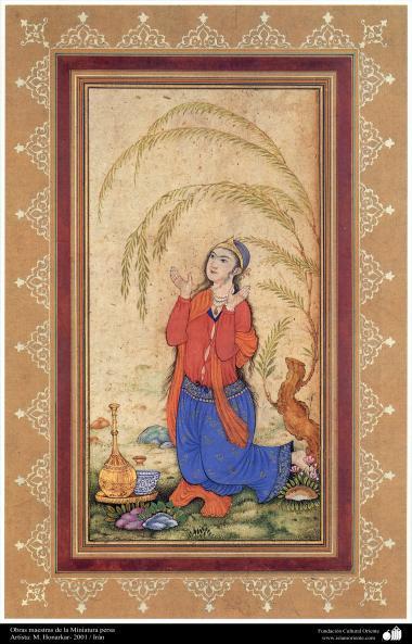 اسلامی فن - استاد ہنرکار کی ایک مینیاتور پینٹنگ (تصویرچہ)، ایران - سن ۲۰۰۱ء - ۹