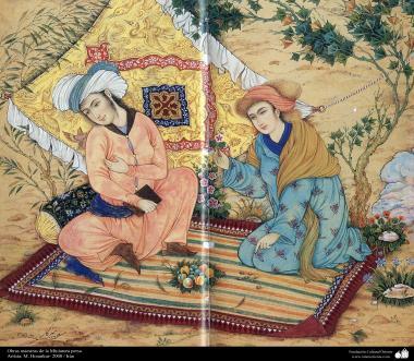 اسلامی فن - استاد ہنرکار کی ایک مینیاتور پینٹنگ (تصویرچہ)، ایران - سن ۲۰۰۰ء - ۸