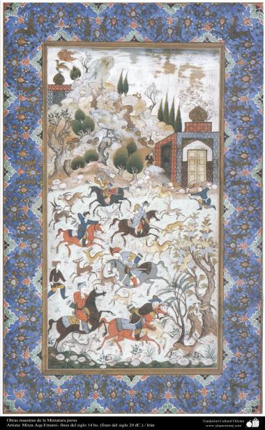 الفن الإسلامي - تحفة من المنمنمة الفارسية - أستاذ ميرزا آقا إمامي - 3