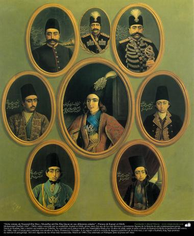 """""""eight portraits of Nasser al-Din Shah and Mudhaffar al-Din Shah Qajar in different ages of his life: Painting by Kamal-ol-Molk of Nasered-Din Sha y Mozaffar ed-Din Sha Qayar en sus diferentes edades"""" ; Pintura de Kamal ol-Molk"""