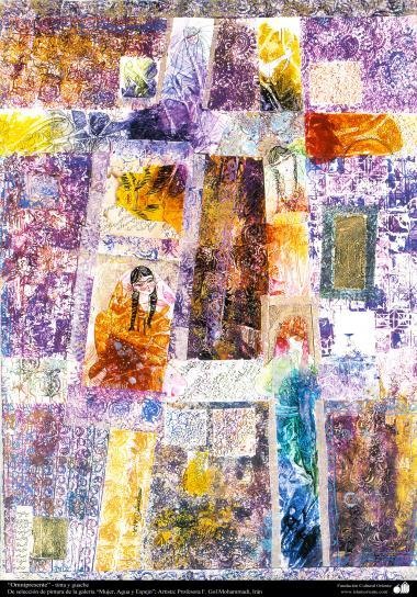 """""""Omnipresente"""" - tinta y guache, de la galería """"Mujer, Agua y Espejo""""; Artista: Profesora F. Gol Mohammadi"""