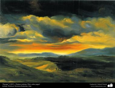 """""""""""Paysage"""" (1997) - Peinture réaliste; Huile sur papier de l'artiste: Professeur Morteza Katuzian"""