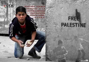 Nós temos o direito da legitima defesa e ter a nossa própria arma (pedra) Palestina Livre