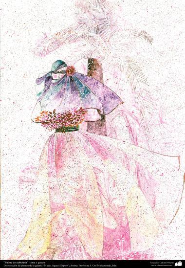 """Palma de sabedoria"" - tinta e guache,  da galeria ""Mulher, Água e Espelho""; Artista: Professora F. Gol Mohammadi,"