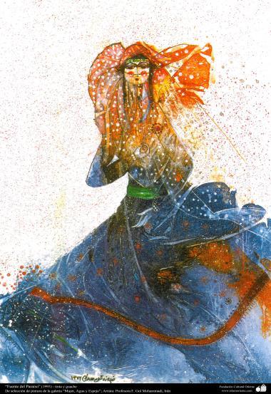 イスラム美術、インク・ガッシュ(Golmohammadi画家の「女性、水と鏡ギャラリ」からの「パラダイスソース」,1993)