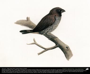 "Painting: ""A bird"" - Oil on canvas - Artist: Kamal-ol-Molk (66)"
