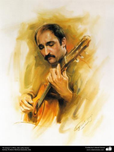 """هنراسلامی - نقاشی - رنگ روغن روی بوم - اثر استاد مرتضی کاتوزیان - """"نوازنده"""" - (1993)"""
