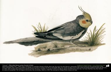 """A bird"" - Persian painting - Artist: Kamal-ol-Molk (13)"