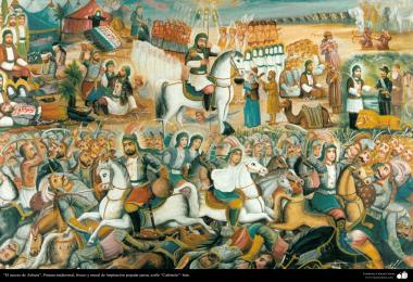 Traditional painting, fresh and mural of Persian popular inspiration, Cafe style (113)