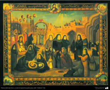 """Traditional painting, cool, inspired mural of popular Persian style """"Cafeteria"""" - Iran (36)"""