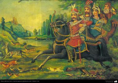 Исламское искусство - Традиционная живопись , настенная живопись , рисование акварелью на гипсе - Стиль кафе - Охота персидских королей - 34