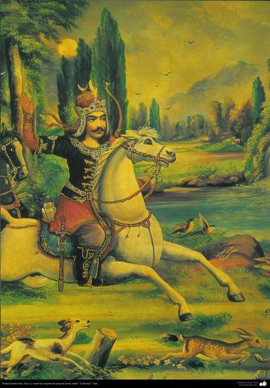 """Pintura tradicional, afresco em mural de inspiração popular persa, estilo """"Cafeteria""""- Irã (45)"""
