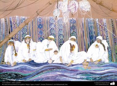 """هنراسلامی - نقاشی - جوهر و گواش - انتخاب نقاشی از گالری """"زنان، آب و آینه"""" - اثر استاد گل محمدی  - زنان عاشق بافتن"""