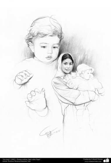 """Painting: Mother and Baby – """"No title"""" (2002), Realistic Painting; pencil on paper. Artist: Professor Morteza Katuzian, Irán."""