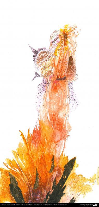"""هنراسلامی - نقاشی - جوهر و گواش - انتخاب نقاشی از گالری """"زنان، آب و آینه"""" - اثر استاد گل محمدی"""