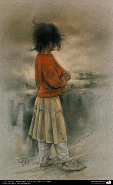 """هنراسلامی - نقاشی - رنگ روغن روی بوم - اثر استاد مرتضی کاتوزیان - """"دختر پابرهنه """" - (1994)"""