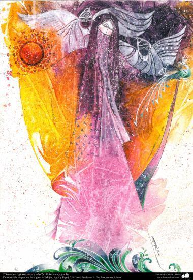 """Art Islamique - Peinture - Encre et gouache -  de la galerie """"Les femmes, l'eau et des miroirs"""" - artiste:Gol Mohammadi - danse vertigineuse de la mères - (1995)"""