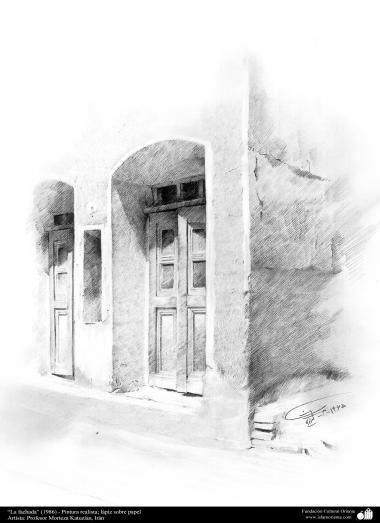 """استاد مرتضی کاتوزیان کی پینٹنگ  """"گھر کا منظر"""" - ایران ، سن ۱۹۸۶ء"""