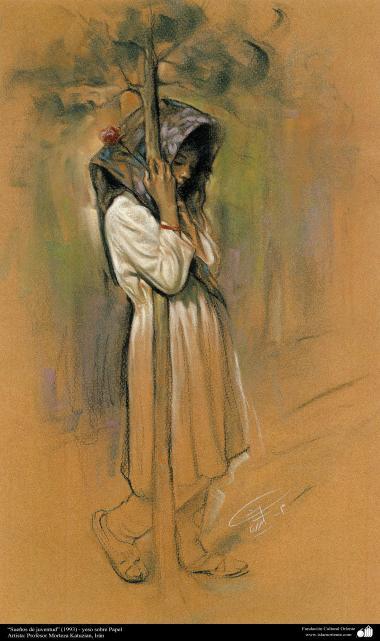 """هنراسلامی - نقاشی - رنگ روغن روی بوم - اثر استاد مرتضی کاتوزیان - """"رویاهای جوانی"""" (1993)"""