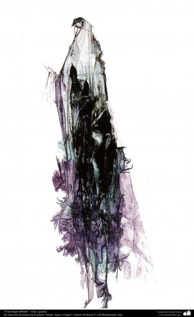 """هنراسلامی - نقاشی - جوهر و گواش - انتخاب نقاشی از گالری """"زنان، آب و آینه"""" - اثر استاد گل محمدی - نام اثر : زن تهرانی"""