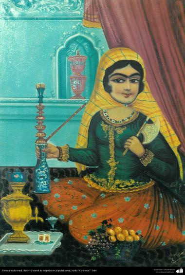"""دیوار پر پانی کے رنگ کی پینٹنگ اور نقاشی، """"گھر کی خاتون"""" - ۱۴"""