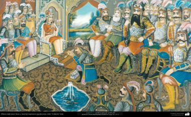 Исламское искусство - Традиционная живопись , настенная живопись , рисование акварелью на гипсе - Стиль кафе - Кей-Хосров (иранский царь) - 8