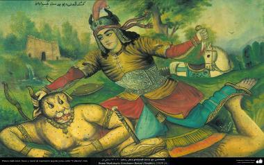 Исламское искусство - Традиционная живопись , настенная живопись , рисование акварелью на гипсе - Стиль кафе - Гисия Бану убила демона - 3