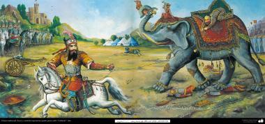 Pintura tradicional, afresco em mural de inspiração popular persa