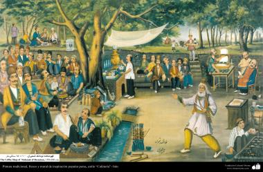Traditional Painting, fresh and mural of popular persian inspiration - Cafe Style - 23