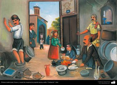 Traditional Painting , fresh and mural  of popular persian inspiration, Cafeteria Style - 24 - 24