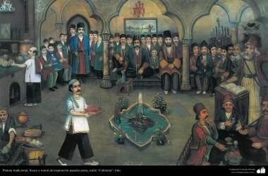 Pintura Tradicional - Afresco em mural, de inspiração popular persa, estilo cafeteria - 23