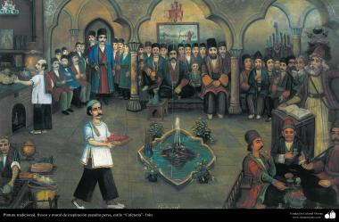 """اسلامی فن - دیوار پر پانی کے رنگ کی پینٹنگ اور نقاشی، """"چائے کی دکان"""" - ۴۰"""
