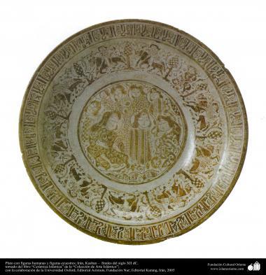 Art islamique - poterie et céramique islamiques -  le bol avec des motifs du visage humain et l'image de l'équitation-Iran -Fin du  XIIe siècle.2