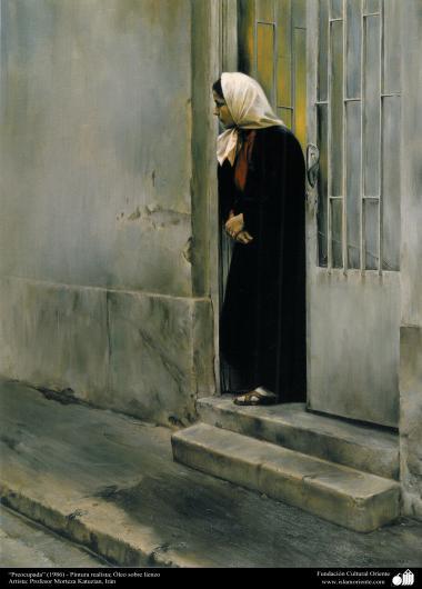 """Arte islamica-Pittura-Olio su tela-Opera di maestro Morteza Katusian-""""Preoccupata""""-1986"""