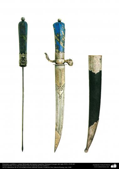 ادوات القديمة للحرب والزخرفية - سكين و غمد الرائعة - العثماني والأوروبي - القرنين السادس عشر والسابع عشر