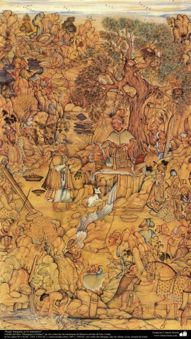 """""""Fest in der Natur"""" - Miniatur aus dem Buch """"Muraqqa-e Golshan"""" - 1605 und 1628 n.Chr. - Islamische Kunst - Persische Miniatur"""