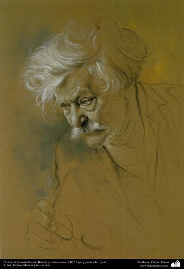 イスラム美術(キャンバス油絵、モレテザ・カトウゼイアン画家の「Hosein Behzad氏の肖像画」(1991年)