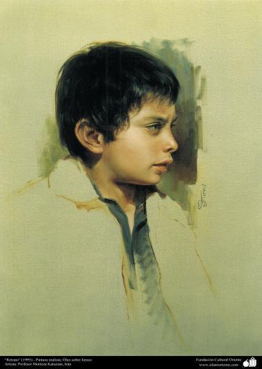 イスラム美術(モレテザ・カトウゼイアン画家による「肖像画」キャンバス油絵」-1995年)5