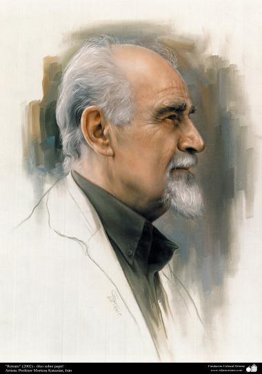 """""""Portrait"""" (2002) -Öl auf Papier - Künstler: Professor Morteza Katuzian - Islamische Kunst - Gemälden"""