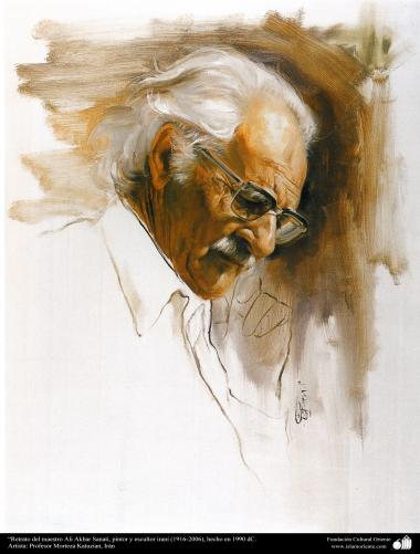 Art islamique - peinture à l'huile sur toile - artiste: M. Katouzian -Portrait du professeur Ali Akbar Sanati, peintre et sculpteur- Iran (1916-2006), construit en 1990,