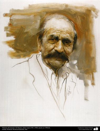 イスラム美術(モレテザ・カトウゼイアン画家による「Ali Rajsaz画家 (1901-1989)の肖像」キャンバス油絵)-1990年)