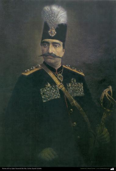 """Arte islamica-Pittura-Olio su tela-Opera di maestro Kamal ol-Molk,""""Ritratto di Naser eddin Shah uno del re della dinastia Qajar"""