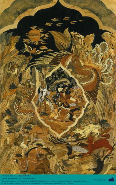 Rostam, mata a su hijo Sohrab - Taracea (Marquetería) Persa